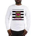 Custom Pink Green Zebra Heart Long Sleeve T-Shirt