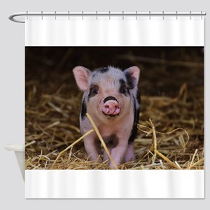 Sweet Cute Pig Shower Curtain