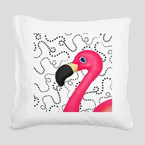 Pink Flamingo Black Dots Square Canvas Pillow