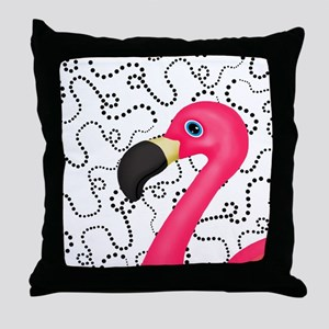 Pink Flamingo Black Dots Throw Pillow