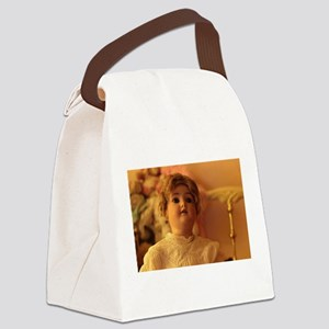 antique bisque doll looking up Canvas Lunch Bag