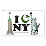 New York City under Islam Rectangle Sticker