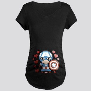 Captain America Hearts Maternity T-Shirt