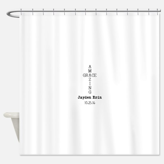Amazing Grace Cross Custom Personalized Shower Cur