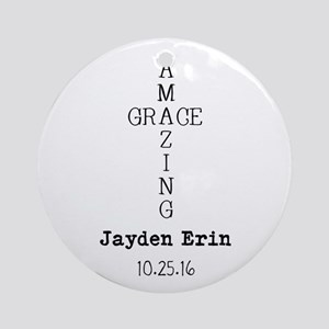Amazing Grace Cross Custom Personalized Round Orna