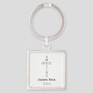 Amazing Grace Cross Custom Personalized Keychains