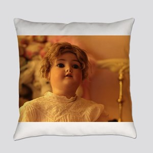 antique bisque doll looking up Everyday Pillow