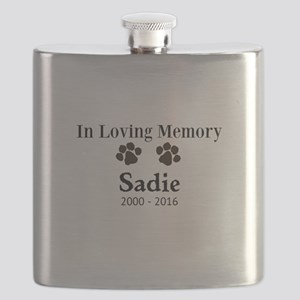 In Loving Memory Pet Paw Personalized Custom Flask