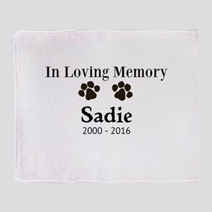 In Loving Memory Pet Paw Personalized Custom Throw