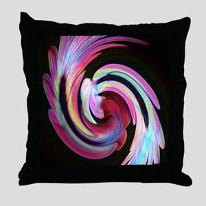 Muted Feather Swirl Throw Pillow
