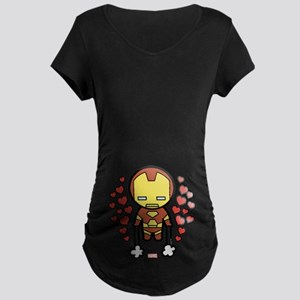 Iron Man Hearts Maternity Dark T-Shirt
