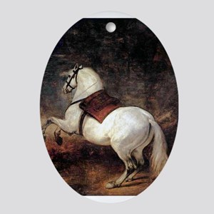 White Horse Ornament (Oval)