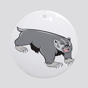 Badger Pouncing Cartoon Round Ornament