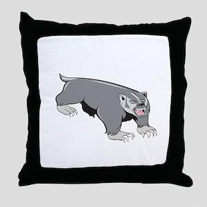 Badger Pouncing Cartoon Throw Pillow