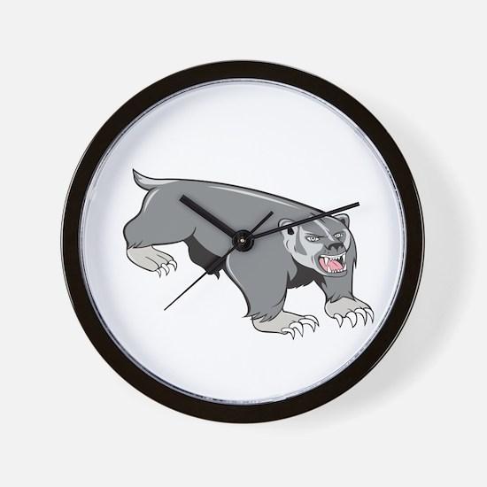 Badger Pouncing Cartoon Wall Clock
