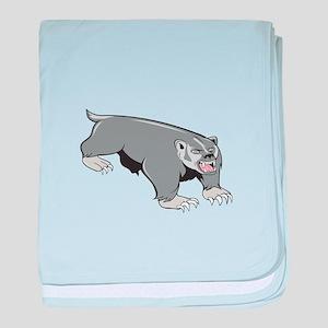 Badger Pouncing Cartoon baby blanket