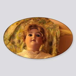 antique bisque doll with fabric backdrop Sticker