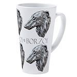 Silver Borzoi Portrait 17 Oz Latte Mug
