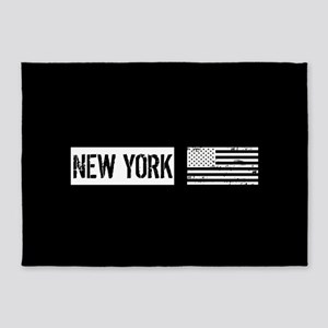 Black & White U.S. Flag: New York 5'x7'Area Rug