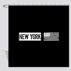 Black & White U.S. Flag: New York Shower Curtain