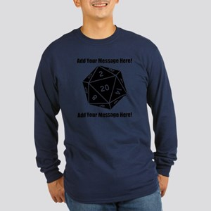 Personalized D20 Graphic Long Sleeve Dark T-Shirt