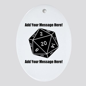 Personalized D20 Graphic Oval Ornament