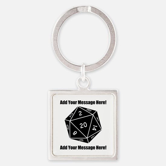 Personalized D20 Graphic Square Keychain