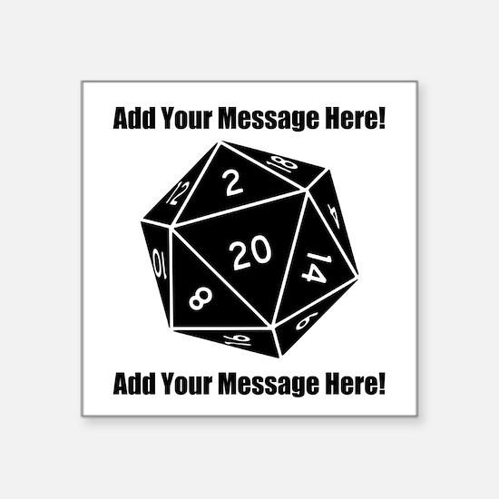 "Personalized D20 Graphic Square Sticker 3"" x 3"""