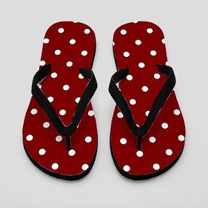 Red, Maroon: Polka Dots Pattern (Small) Flip Flops