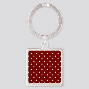 Red, Maroon: Polka Dots Pattern (S Square Keychain