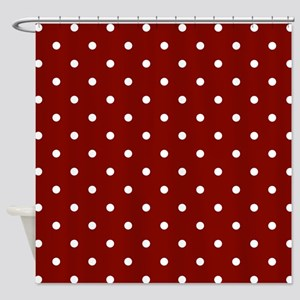 Red, Maroon: Polka Dots Pattern (Sm Shower Curtain