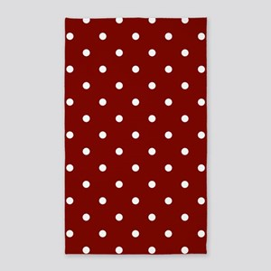 Red, Maroon: Polka Dots Pattern (Small) Area Rug