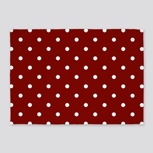 Red, Maroon: Polka Dots Pattern (Sm 5'x7'Area Rug