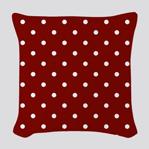 Red, Maroon: Polka Dots Patter Woven Throw Pillow