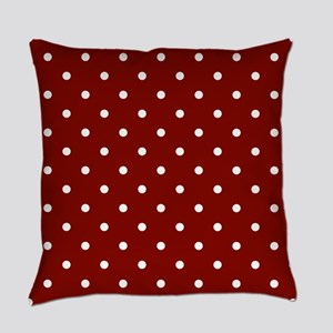 Red, Maroon: Polka Dots Pattern (S Everyday Pillow