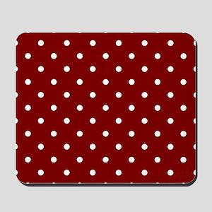 Red, Maroon: Polka Dots Pattern (Small) Mousepad