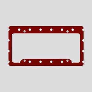 Red, Maroon: Polka Dots Patte License Plate Holder