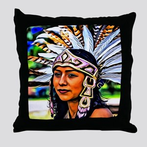Aztec Priestess Throw Pillow