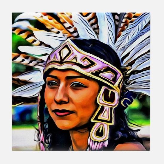 Aztec Priestess Tile Coaster