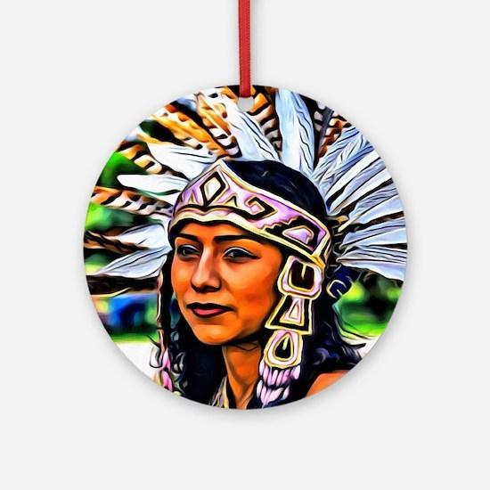Aztec Priestess Round Ornament