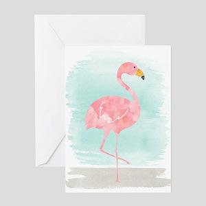 Beach Flamingo Greeting Cards
