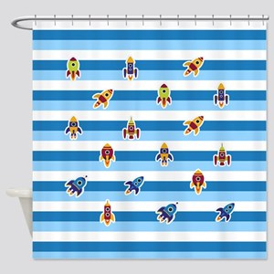 Cartoon Rocket Ships Shower Curtain