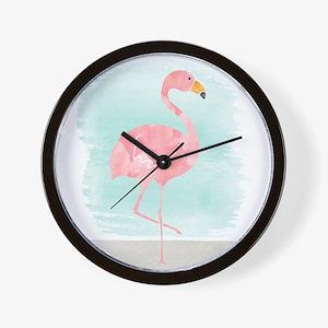 Beach Flamingo Wall Clock