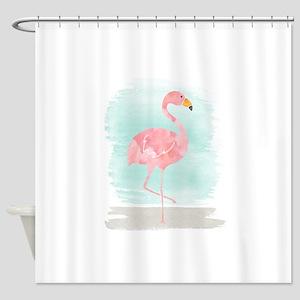 Beach Flamingo Shower Curtain