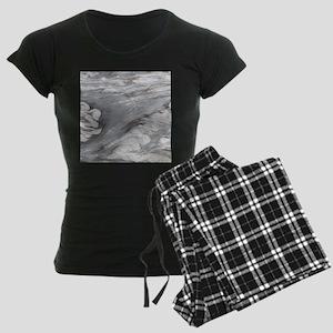 abstract grey marble swirls Women's Dark Pajamas