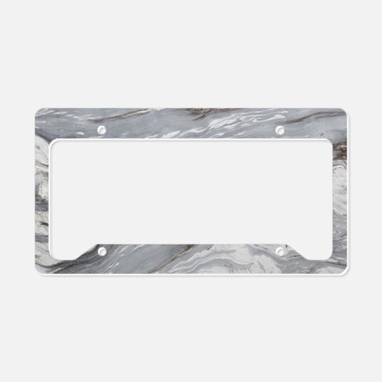 abstract grey marble swirls License Plate Holder