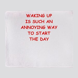 waking up Throw Blanket