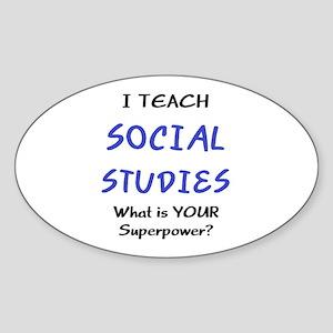 teach social studies Sticker (Oval)