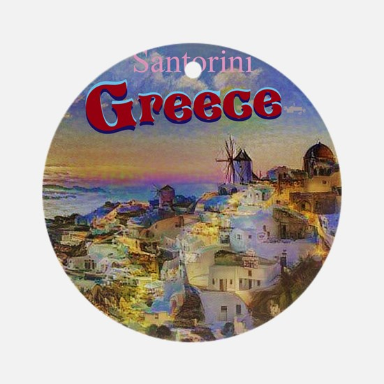 Santorini Greece Round Ornament