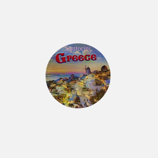 Santorini Greece Mini Button
